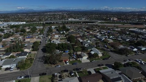 Aerial view of residential neighborhood Streets in the suburbs of Anaheim California 4K.MOV