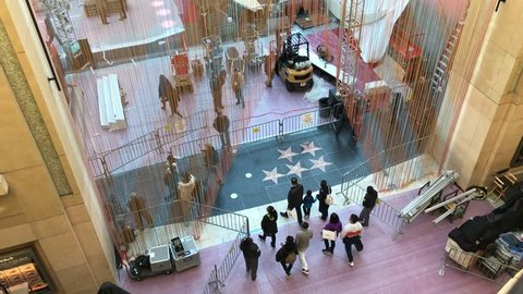LOS ANGELES, Feb 21st, 2019: Aerial shot of the red carpet area under construction at the Hollywood and Highland mall near the Dolby Theatre, ahead of the 91st Academy Awards Oscar ceremony.