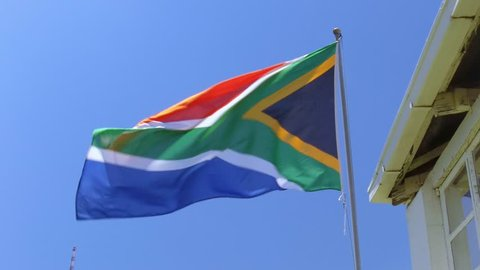 Johannesburg, South Africa, 17th February - 2019: South African flag fluttering in the wind