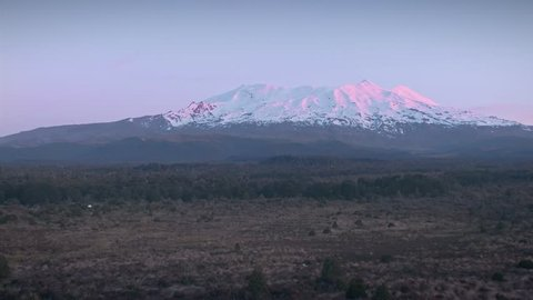 Aerial: Flying over native vegetation at sunrise with a view to a snow covered Mount Ruapehu, New Zealand