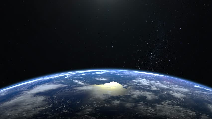 Earth from space. The camera is approaching Earth. No sun in the frame. Stars twinkle. 4K. Sunrise. The earth slowly rotates. Realistic atmosphere. 3D Volumetric clouds.   Shutterstock HD Video #1024637717