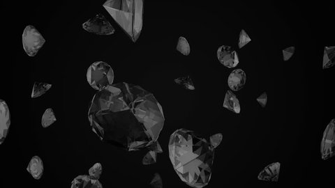 Abstract animation of falling diamonds in slow motion on a black background. 3d animation.