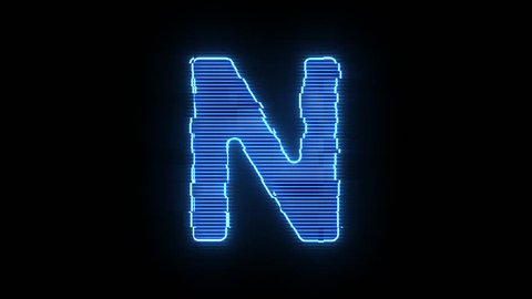 Alphabet letter N blue hologram distorted text 4K animation