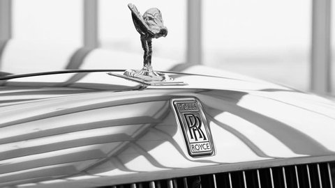 Moscow, Russia - February, 2019: Close up high detailed view of Rolls-Royce emblem logo, Spirit of Ecstasy