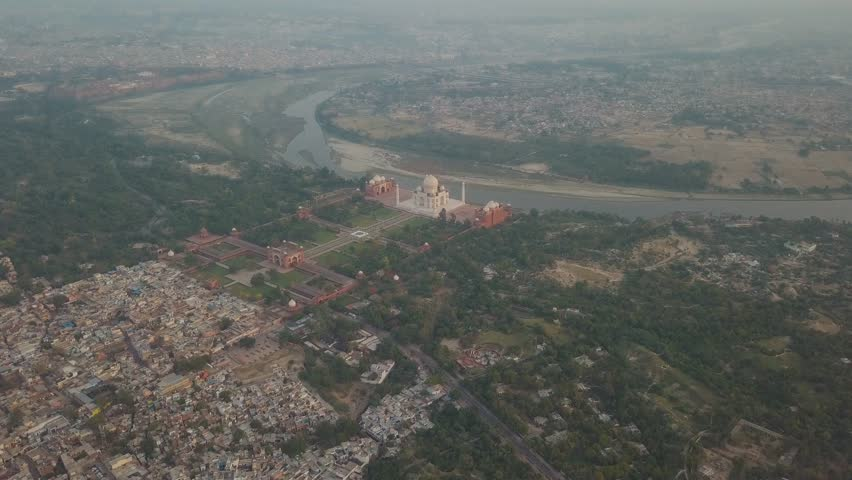 Aerial drone shot of the iconic Taj Mahal in Agra, India | Shutterstock HD Video #1024684517