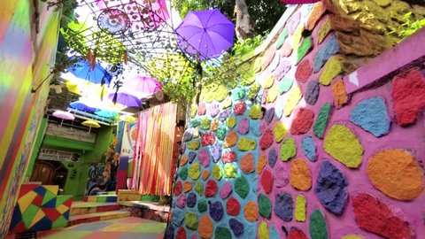 Malang, East Java / Indonesia - Jan 15, 2019: Colorful Unique Decoration's Alley at Rainbow Village (Kampung Warna) Jodipan Malang, East Java, Indonesia, Asia