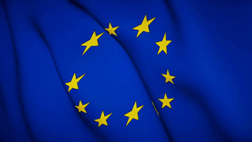 Waving Flag of Europe. Seamless Looping Stock Footage, Realistic fabric texture | Shutterstock HD Video #1024693097