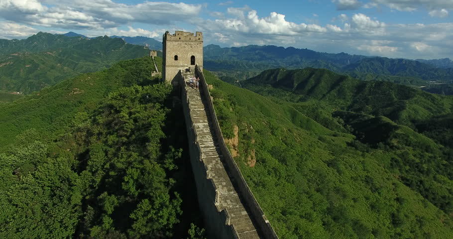 Great Wall of China. Unrestored sections at Jinshanling. Filmed from the drone.