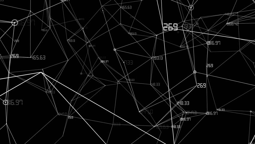 The camera flies away from the network of connected numbers.Abstract background of technology network. #1024770497