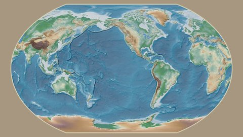 South Sudan area presented against the global physical map in the Kavrayskiy VII projection with animated oblique transformation