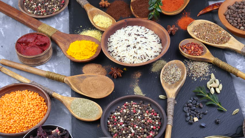 Spices and seasonings for cooking in the composition on the table #1024831667
