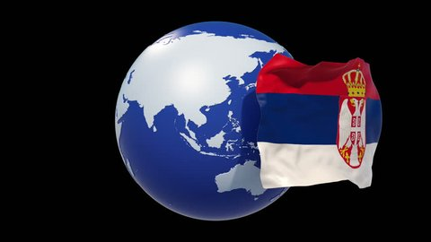 Serbia Flag. Serbia independence day. 3d animation Serbia flag day. luma matte,alpha matte. 4k loop.