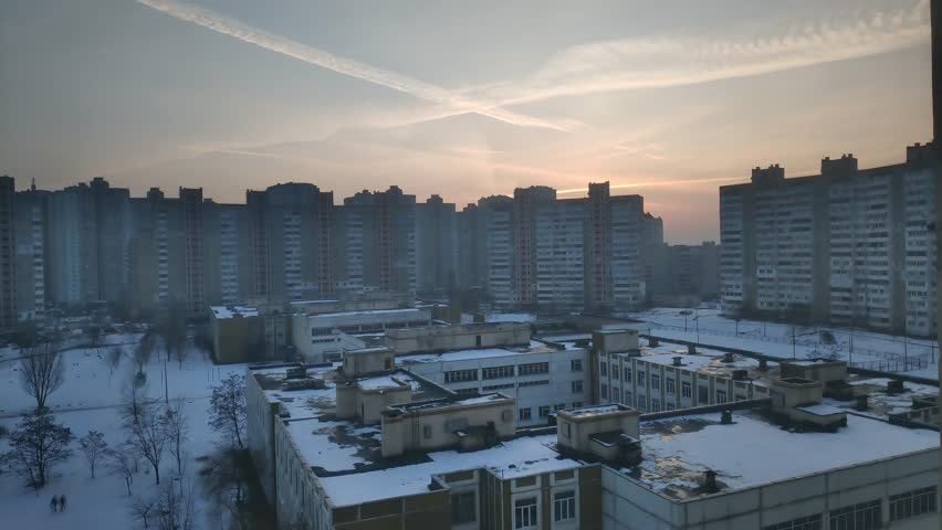 Timelapse At Winter.Wide Angle Time-Lapse Of The Kyiv City Skyline During Winter.Winter Kyiv City  Timelapse. Urban Landscape.Timelapse View Of Kyiv City Skyline.Panorama On Winter Day.