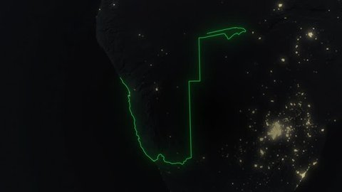 Realistic 3d animated earth showing the borders of the country Namibia and the capital Windhoek in 4K resolution at night