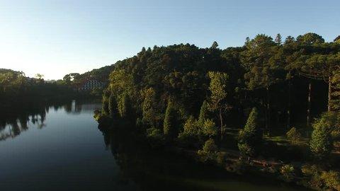 Gramado, Rio Grande do Sul / Brazil - 02/23? 2019: aerial view of Black Lake Park (Parque Lago Negro)