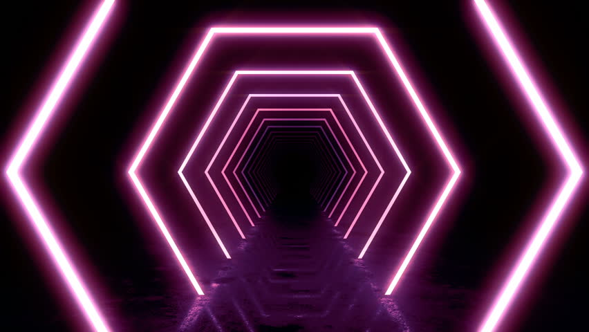 Abstract background with animation of flight in abstract futuristic tunnel with neon light. Animation of seamless loop.  | Shutterstock HD Video #1025051087