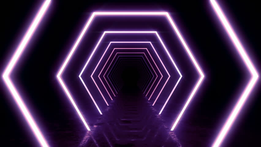 Abstract background with animation of flight in abstract futuristic tunnel with neon light. Animation of seamless loop.  | Shutterstock HD Video #1025051267