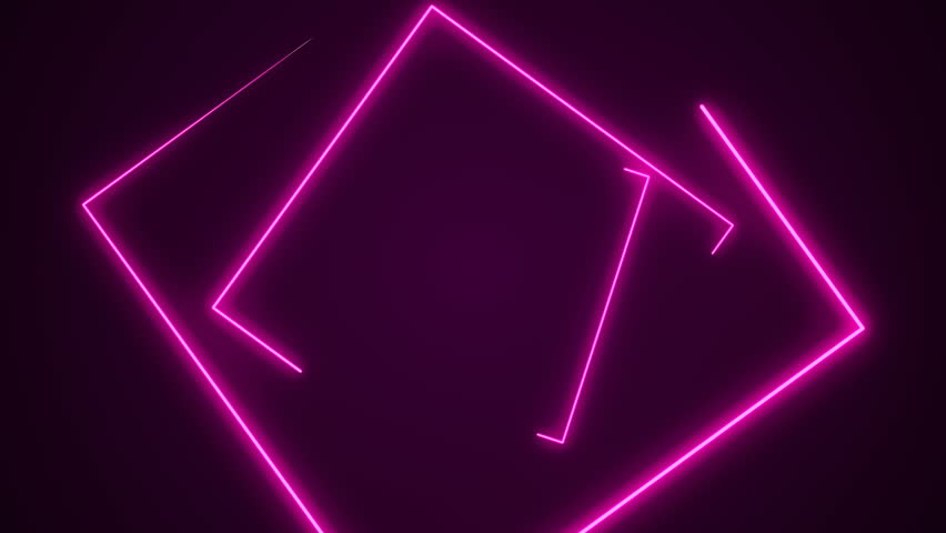 Futuristic HUD rectangle tunnel seamless loop. 4K Neon motion graphics for LED, TV, music, show, concerts. Bright retro cosmic night club 3D animation with data flow concept for speed and connection #1025178167