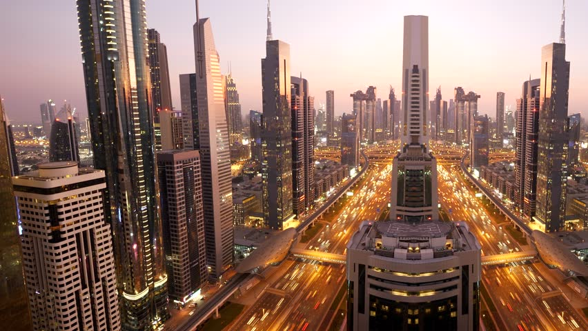 Cityscape View of Dubai Skyline and Urban Roads in the United Arab Emirates #1025235617