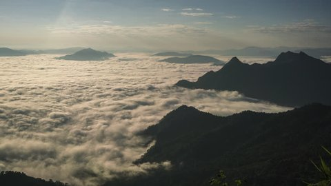 time lapse of aerial view of fog mist and mountain Northern of North Chaing Mai, Thailand 4k video