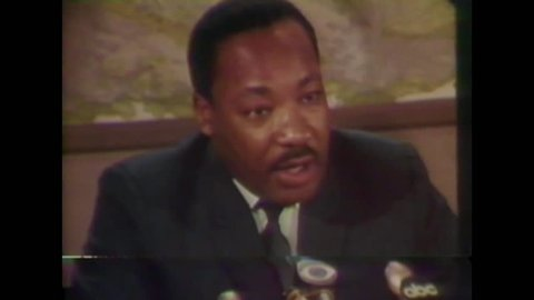 CIRCA 1968 - In an interview with the press, Martin Luther King introduces Reverends Abernathy and Lee.