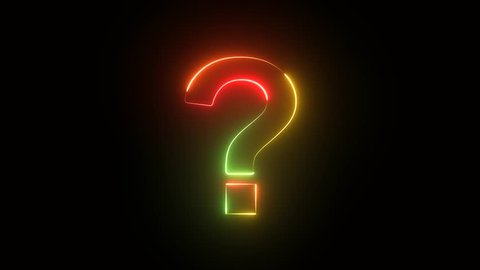 Animated question mark on black background