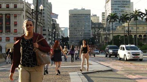 Sao Paulo, Brazil, December 05, 2018. People walking on Cha Viaduct in downtown Sao Paulo.