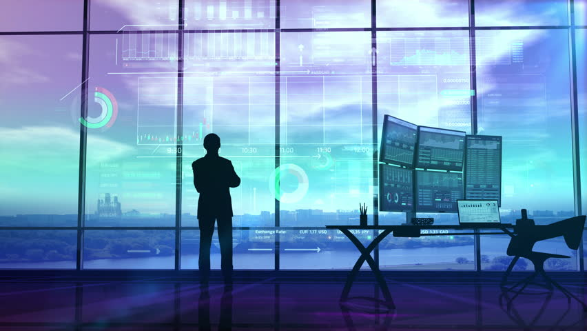 Trader in the big office and stock exchange infographics | Shutterstock HD Video #1025313257