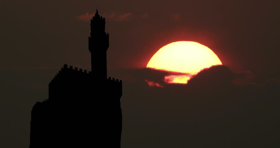 Florence Italy Silhouette at Sunset Sunrise Timelapse | Shutterstock HD Video #1025315267