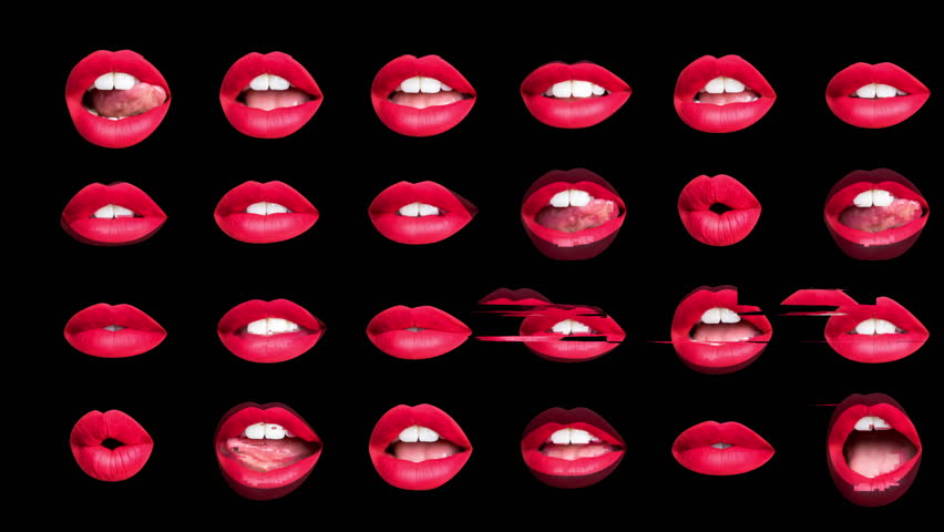 Sequence of woman's beautiful full red lips made into a repeating wallpaper pattern with overlayed glitch effects | Shutterstock HD Video #1025315597