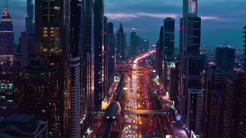 Aerial Shot Of Night Urban Skyline Landscape Traffic Moving Overpass Busy City Transport Dubai Business District Low Light Uhd Hdr 4k | Shutterstock HD Video #1025330447