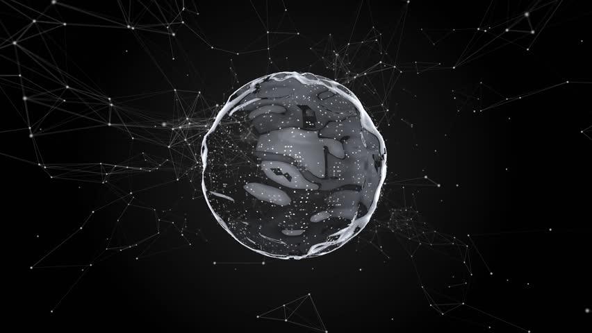 Abstract sphere, technological design, black background, plexus pattern, flowing liquid 3D   Shutterstock HD Video #1025424317