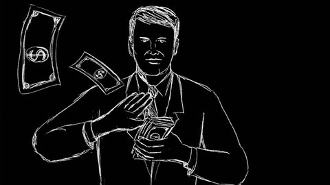 2d Animation motion graphics showing a drawing of a businessman making it rain and spreading money  on black, white and green screen in HD high definition.