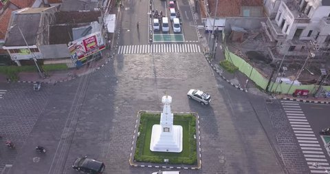 Yogyakarta - Indonesia. March 10, 2019: Records of Yogyakarta monument icons that use drones and heavy traffic