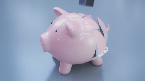 An empty piggy bank destruction. Hammer smashes the porcelain deposit. No savings inside. Symbolizing bankruptcy and the last possible way to get any money. Economical crash. Poverty. Problems.