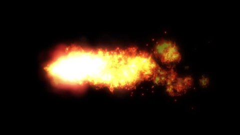Shockwave Power Fire Meteor Loop/ Animation of a powerful fire comet with speed explosion wave effect, fluid distortion and turbulence effects seamless looping