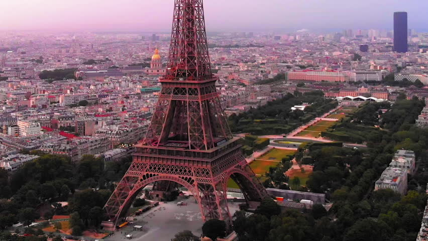 Aerial view to Eiffel tower and the city at sunrise, Paris, France | Shutterstock HD Video #1025483027