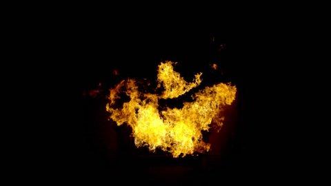 Fire bursting through window frame on black professionally shot VFX footage on 4K RED camera.