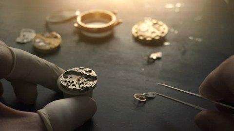 Mechanical watch repair, close up