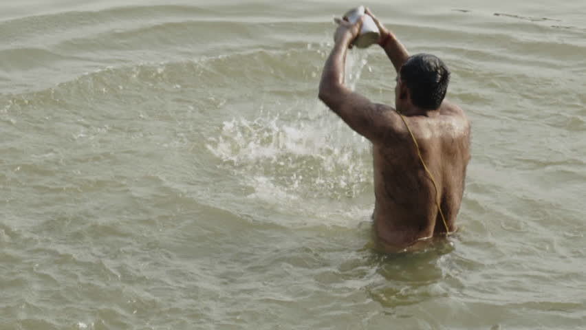 eec808e5057 Out Of Focus People Bathing in Ganges River Free Stock Video Footage ...
