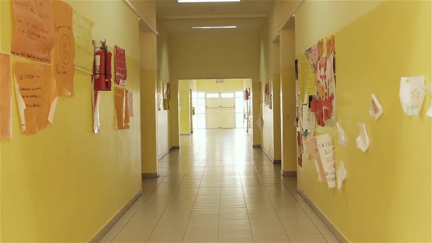 An Empty Corridor in a Public School in Buenos Aires, Argentina. Zoom In. | Shutterstock HD Video #1025507297