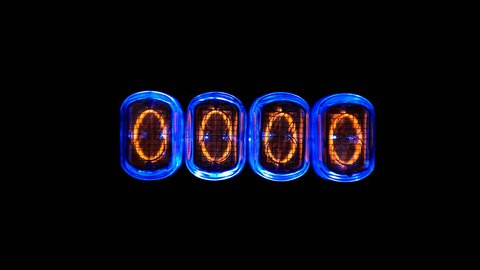 counting time counters, numerical counter from 9 to 0, Gas discharge indicator Nixie tube