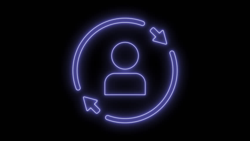 Personal profile update. Animated symbol icon 4K. Neon effect, linear and alpha channel. | Shutterstock HD Video #1025559317