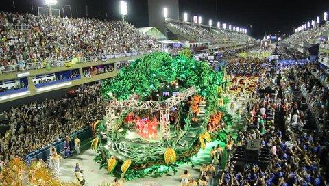 RIO DE JANEIRO, MARCH 4, 2019: Samba school  parade in Sambodrome, Rio de Janeiro