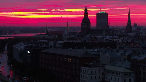 Aerial Latvia Riga June 2018 Sunset 90mm Zoom 4K Inspire 2 Prores  Aerial video of downtown Riga in Latvia during a beautiful sunset with a zoom lens