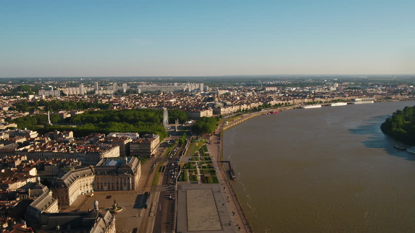 Aerial France Bordeaux June 2018 Sunny Day 30mm 4K Inspire 2 Prores  Aerial video of downtown Bordeaux in France on a sunny day. | Shutterstock HD Video #1025573597