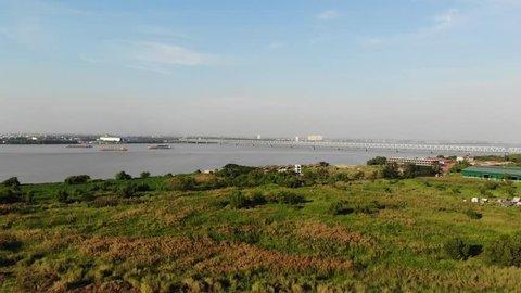 Thanlyin bridge over Bago River Yangon Myanmar