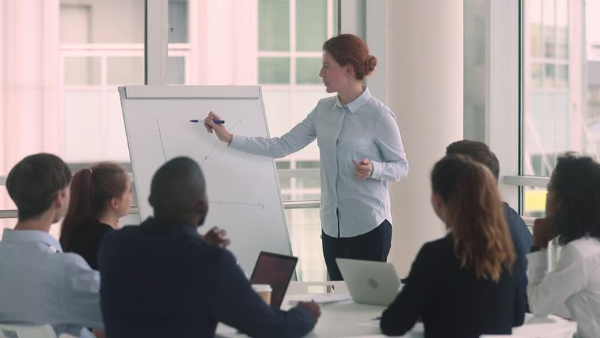 Woman manager coach mentor giving whiteboard presentation at business meeting training, teacher leader consulting diverse people employees group at workshop explain graph to office team in boardroom | Shutterstock HD Video #1025577077