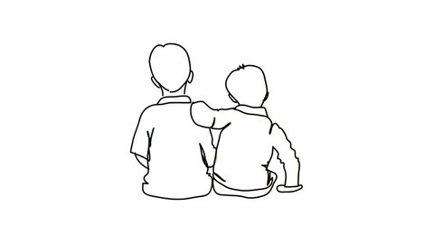 Brothers hand draw cartoon whiteboard animation doodle footage