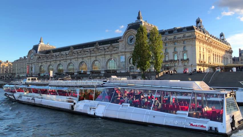 Bateaux mouches on Seine Paris France (4 October 2017)   Shutterstock HD Video #1025723447